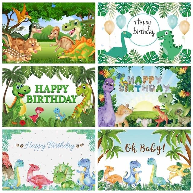 Laeacco Geburtstag Kulissen Dschungel Party Jurassic Welt Dinosaurier Neugeborenen Fotografie Hintergründe Baby Dusche Photophone Photocall