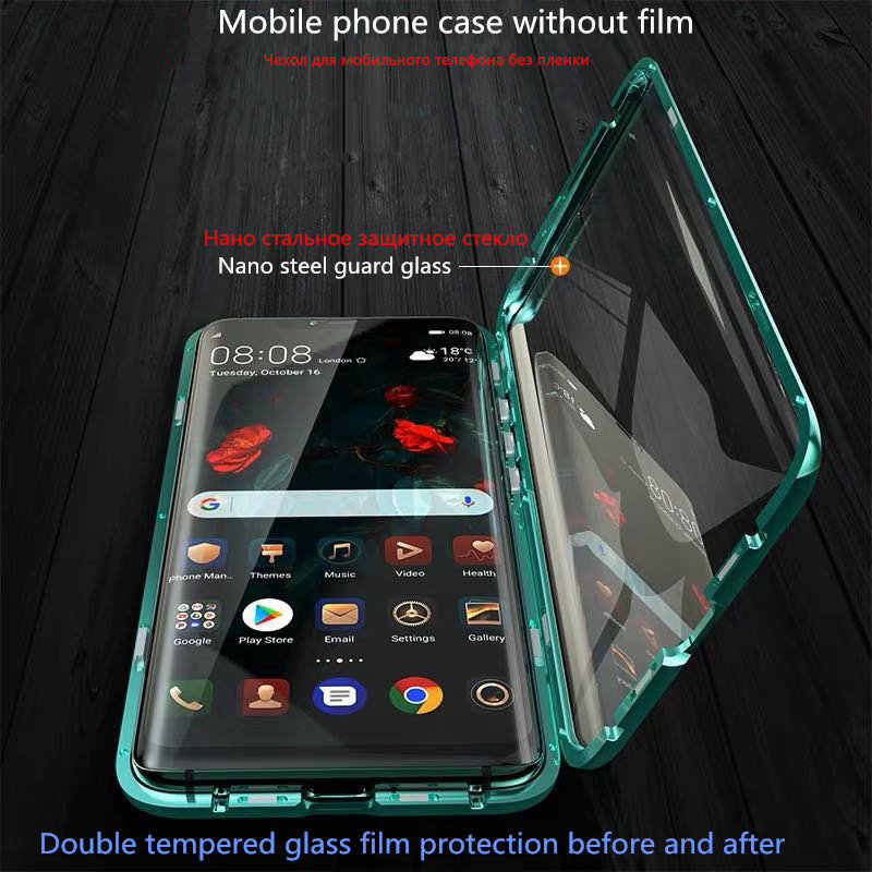Case for redmi note 8 7 Magnetic Adsorption Metal Case for redmi note 7/8 pro k20 k20 pro xiaomi 8 9 cc9 cc9e Double sided glass