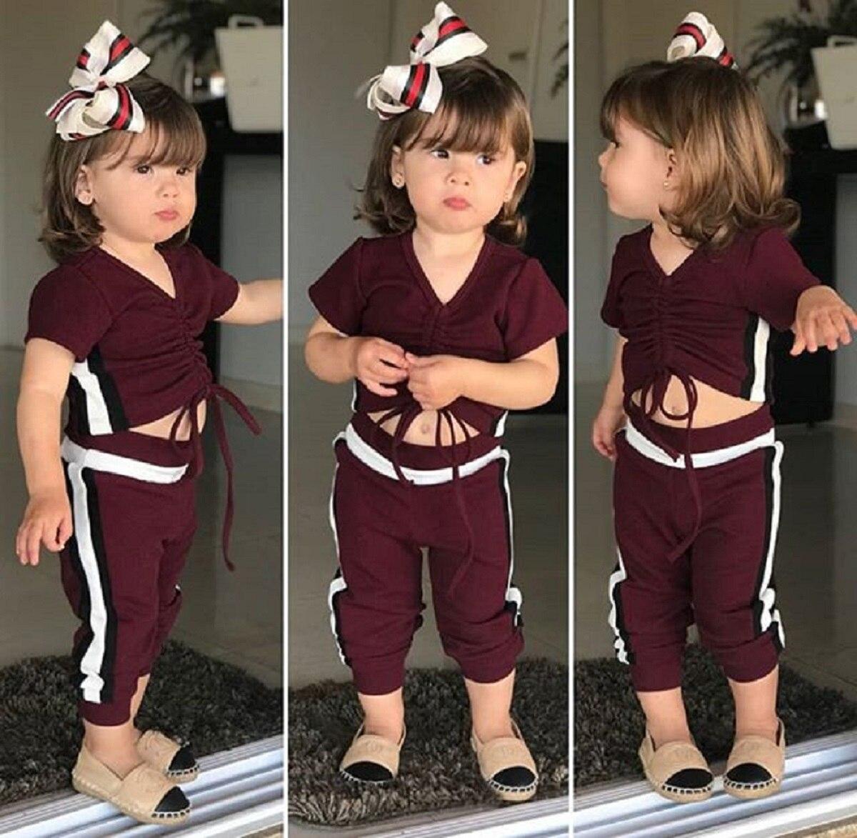 Toddler Kid Baby Girl Clothes Vest Crop Top+Floral Leggings Long 2PCS Outfit Set