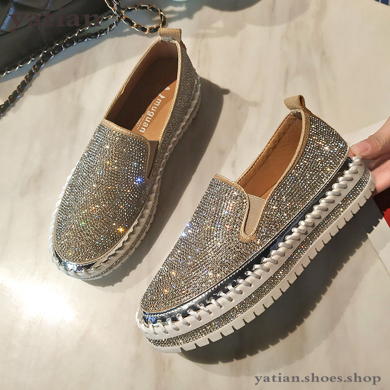 loafers shoes women luxury silver crystal slip on platform casual shoes woman shinning bling solid black flat heels shoes A047