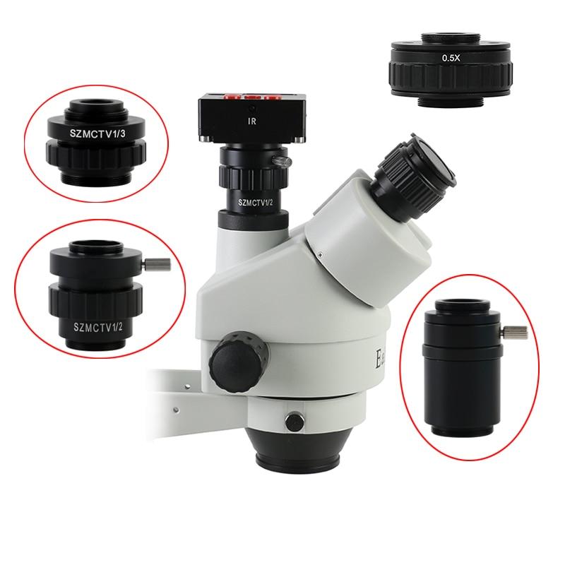 Trinocular Stereo Microscope CMOS Camera Adapter SZMCTV 1X 1/2X 1/3X 0.5X Lens C-mount Lens Adapter