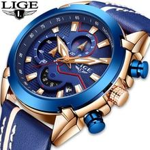 цена на Top Brand Luxury LIGE 9869 Fashion Leather Strap Quartz Men Watch Casual Date Business Male Wrist Watches Men Clock Montre Homme