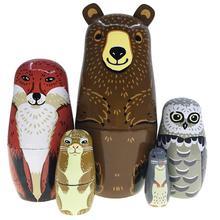 5 Teile/satz Nette Bär Fuchs Tier Holz Russische Matryoshka Puppen Nesting Figuren Kinder Spielzeug