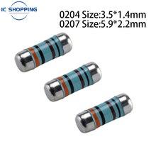 0204 0207 Color Ring SMD Wafer Resistance 1R 2R 1.5R 4.7 10 15 22 27 47 100 220 1K 2K 4.7K 10K 22K Ohm Cylindrical Resistance