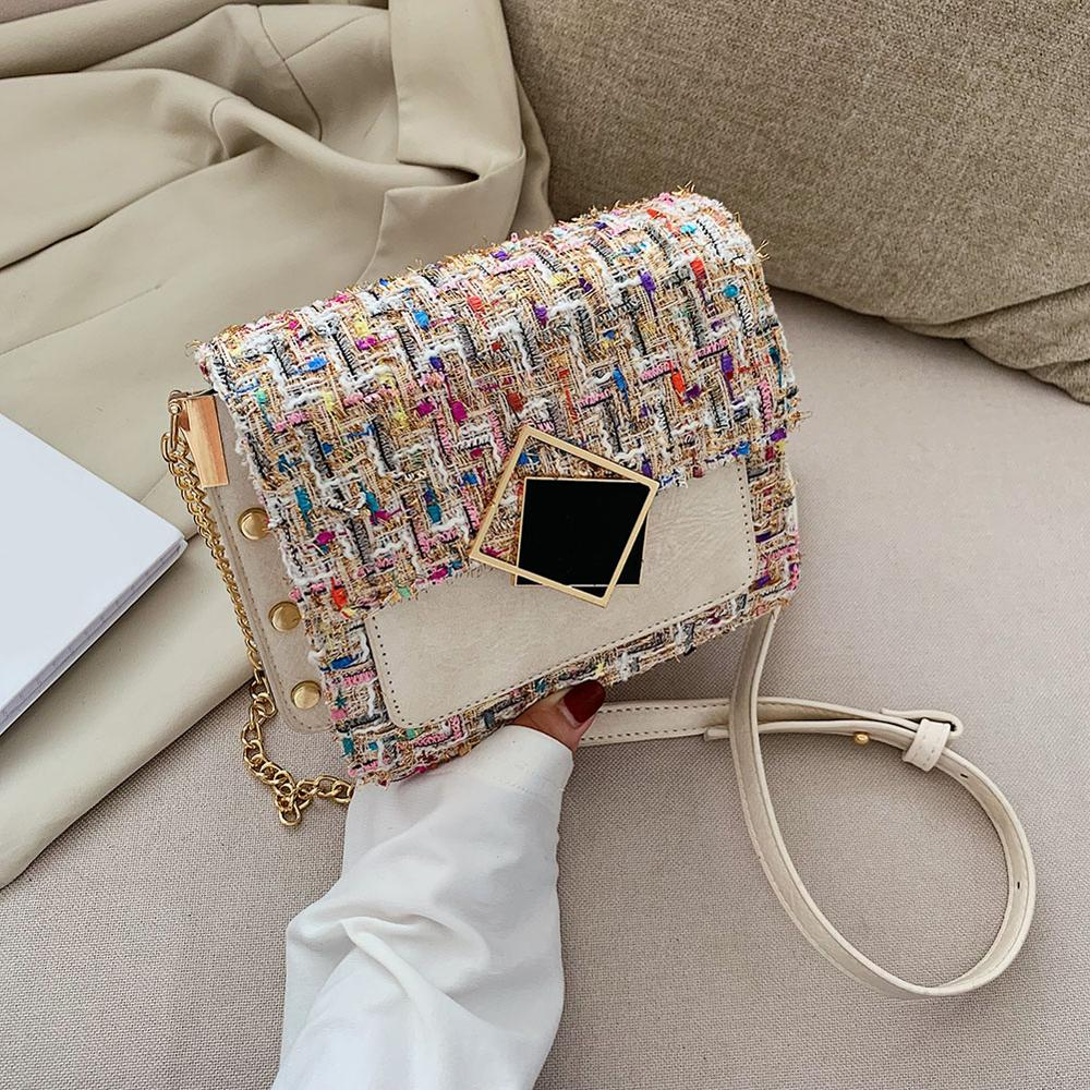 Special Lock Design Crossbody Bags For Women 2019 Woolen Leather Messenger Bags Lady Casual Classic Flap Chain Shoulder Handbag