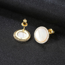 YUEYIN 925 Sterling Silver Earrings Sea Shell Stud for Women Girl Korean Round Circle Fahshion Wholesale Hot