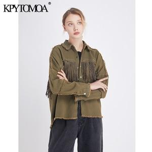 Image 3 - Vintage Stylish Fringe Beaded Loose Denim Jacket Coat Women 2020 Fashion Long Sleeve Frayed Trim Ladies Outerwear Chaqueta Mujer