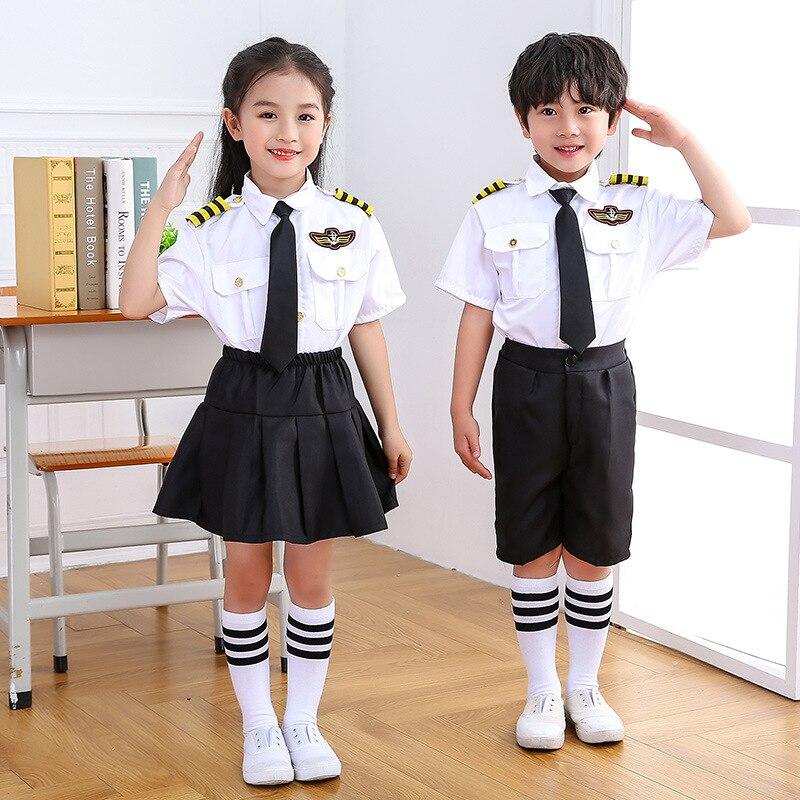 Children Cosplay Flighter Halloween Party Aircraft Pilot Uniforms Kids Performance Profession Class Wear Thanksgiving Outfits