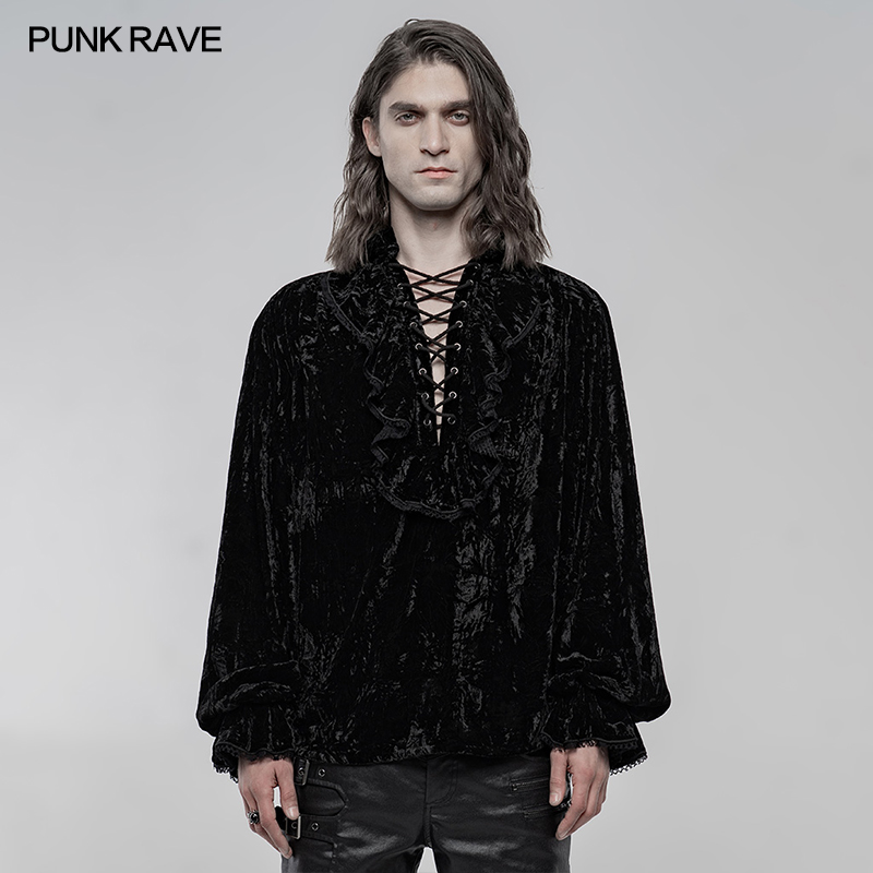 Velvet gothic shirt Punk Rave WY-1266CCM