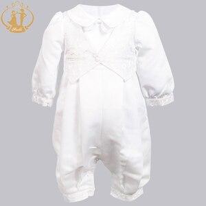 Image 5 - ทารกNimbleทารกGowns Christeningซาตินอย่างเป็นทางการโอกาสRomperทารกแรกเกิดเสื้อผ้างาช้างเด็กBaptismชุด 0 12M