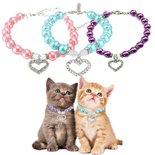 Dog Cat collar Diamond Love Pendant Pearl Necklace Bling Princess For piggy Puppy Cats Small Pink Purple Sky Blue D40