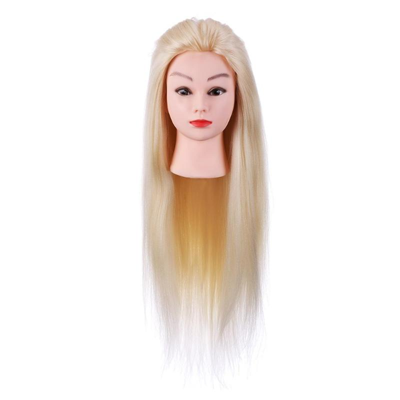 Training Mannequin Head Model Fiber Hair Synthetic Hairdressing Doll Heads