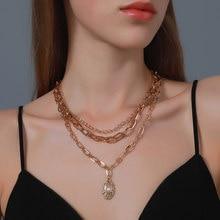 Vintage barroco irregular pérola bloqueio correntes colar para mulher punk jóias
