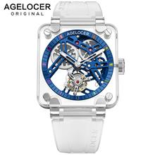 AGELOCER oryginalny szwajcarski marka prawdziwe Tourbillon zegarki sportowe mężczyźni niebieski szkielet pełna Sapphire Gems Case zegarek mechaniczny tanie tanio 5Bar CN (pochodzenie) Klamra Limitowana edycja Mechaniczna Ręka Wiatr 23cm Kamienie szlachetne i kamienie Luminous Odporne na wodę