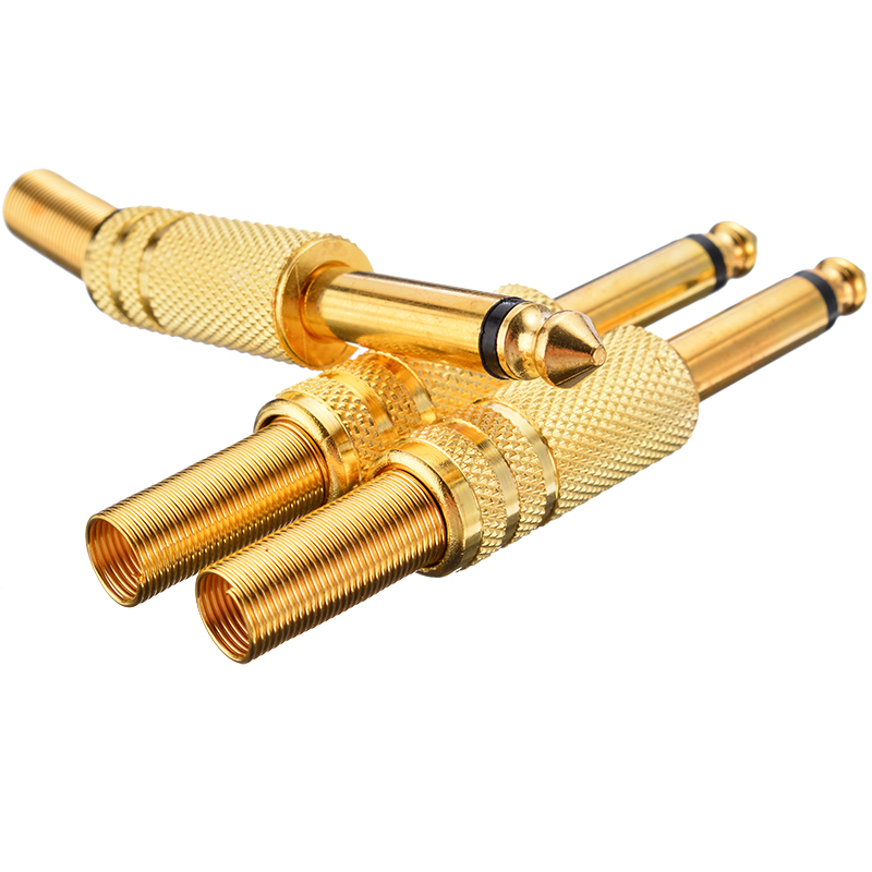 10 Pcs Gold Plated 6.35mm Male 1//4 Mono Jack Plug Audio Connector Soldering