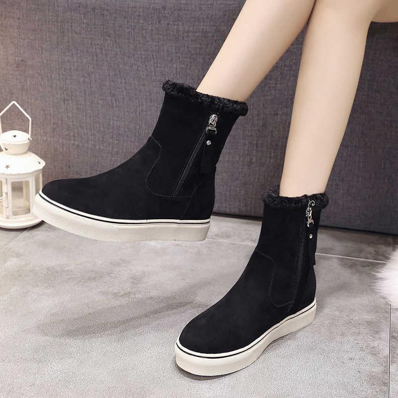 ERNESTNM/2019 г.; зимняя обувь из водонепроницаемого флока; женские зимние ботильоны; botas mujer; женские теплые ботинки на меху с плюшевой стелькой; качественные ботинки на молнии
