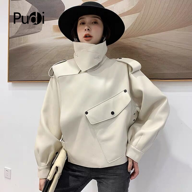 PUDI Real Sheep Skin Coat Jacket Overcoat Women's Winter Warm Coat Genuine Leather Inside Winter Coat CT936