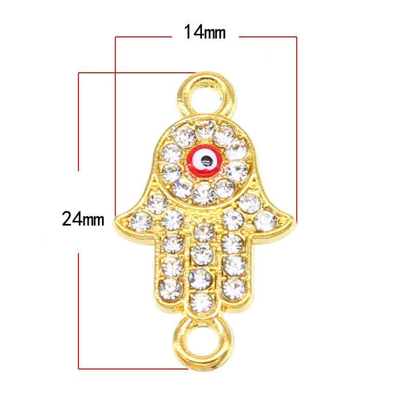 6 Chiếc Vàng/Bạc Mạ Fatima Bàn Tay Hamsa Ác Xanh Dương Hưu Mắt Phù Hợp Với Trang Sức Làm Cho Những Phát Hiện Phụ Kiện DIY 24*14*2 Mm