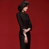 Classy Black Bodycon Basics Pencil Dress Modern Cheongsam Plus Size Office Lady Lace Qipao 2020 Chinese Tradition Dresses