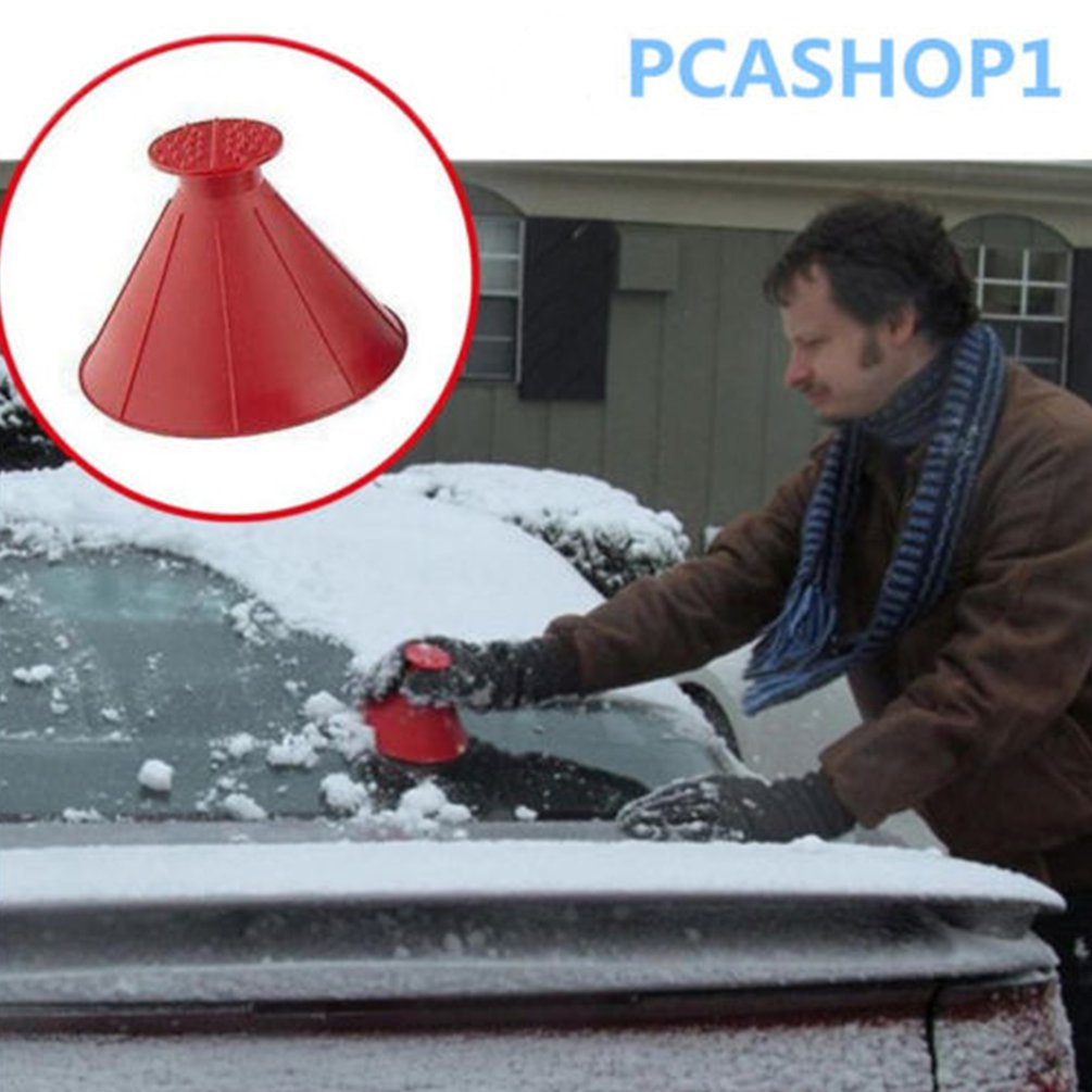Car Windshield Ice Scraper Tool Cone Shaped Outdoor Funnel Snow Remover Cleanner