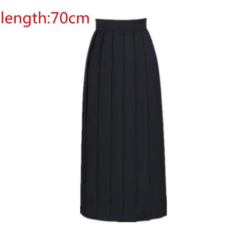 Японская школьная форма для девочек, регулируемая однотонная плиссированная юбка, 90 см, Jk, черный, темно-синий цвет, для старшеклассников, для студентов, в школьном стиле - Цвет: black skirt 70cm