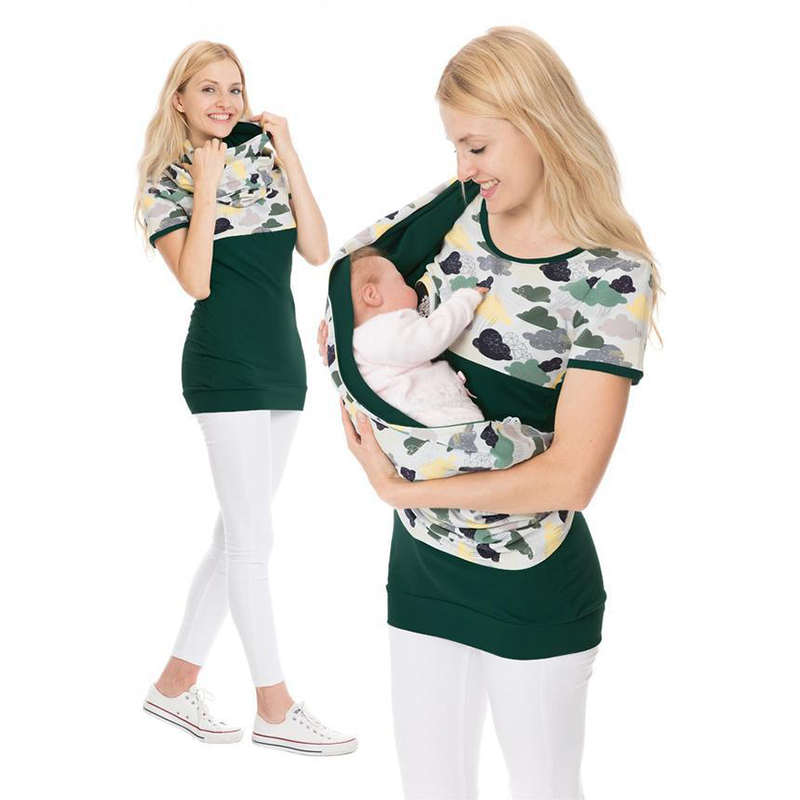 Maternity Breastfeeding Hooded Top Print Nursing Mothers T Shirt Pregnant Hoodies Lactation Clothes For Women Pregnancy Clothing