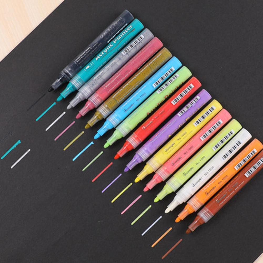1pcs Acrylic Paint Waterproof Colorful Marker Pen Extremely Fine Hook Line Pen DIY Office Stationery And School Supplies