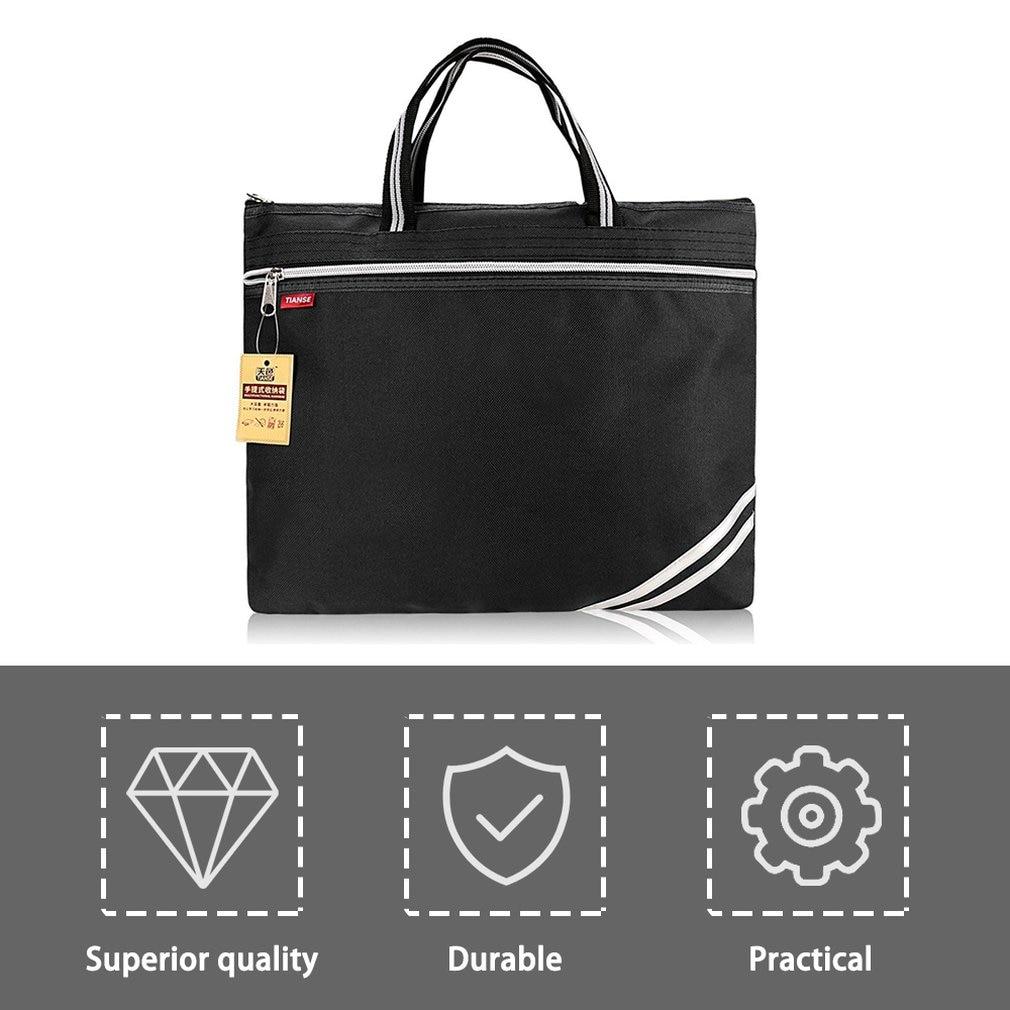 TIANSE Oxford Cloth Briefcase Business Bag Men Ladies Portable Zipper PU Leather File Bag Double Deck Data Package