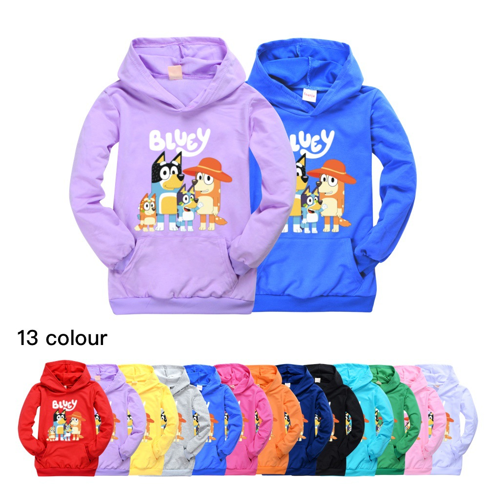 Toddler Girl Fall <font><b>Winter</b></font> <font><b>Clothes</b></font> Kids Hoodies Thin Sweatshirt cotton bingo bluey baby hoodie boys <font><b>clothes</b></font> <font><b>8</b></font> 10 12 14 16 <font><b>years</b></font> image