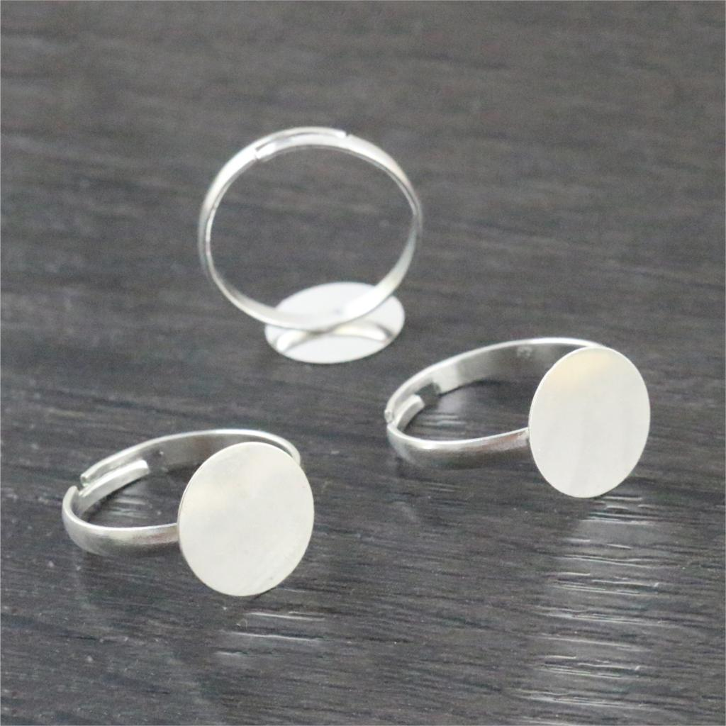 12mm 20pcs Silver Plated Adjustable Ring Settings Blank/Base,Fit 12mm Glass Cabochons,Buttons;Ring Bezels J1-01