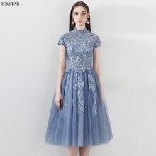Vestido para matrimonio new high neck lace short sleeve back A Line dusty blue bridesmaid
