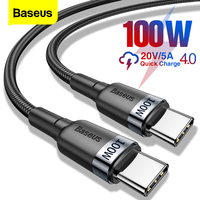 Baseus 100W USB C a USB a Cable de tipo C para Huawei Samsung S20 QC 3,0 de carga rápida Cable de datos para Xiaomi Macbook Pro USB-C Cable