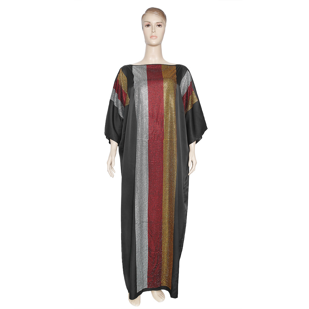 Sexy Off Shoulder African Bazin Silk Ankara New Fashion Super Size Dashiki Africa Evening Dress ColourDiamonds Kanga Clothing
