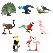 Garden Emulational Forest Parrot Image Miniature Animal Models Craft Bird Statue Plastic Craftwork Decoration Accessories
