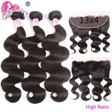 Beauty Forever Brazilian Body wave Hair Bundles With Lace Frontal 13*4 High Ratio Lace Frontal Remy Human Hair