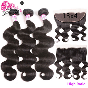 Image 1 - Beauty Forever Brazilian Body wave Hair Bundles With Lace Frontal 13*4 High Ratio Lace Frontal Remy Human Hair