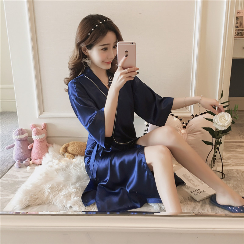 2019 New Style Summer Nightgown Women's Long Viscose Pajamas Sexy Thin Large Size Embroidery Imitated Silk Fabric Lace-up Robe F