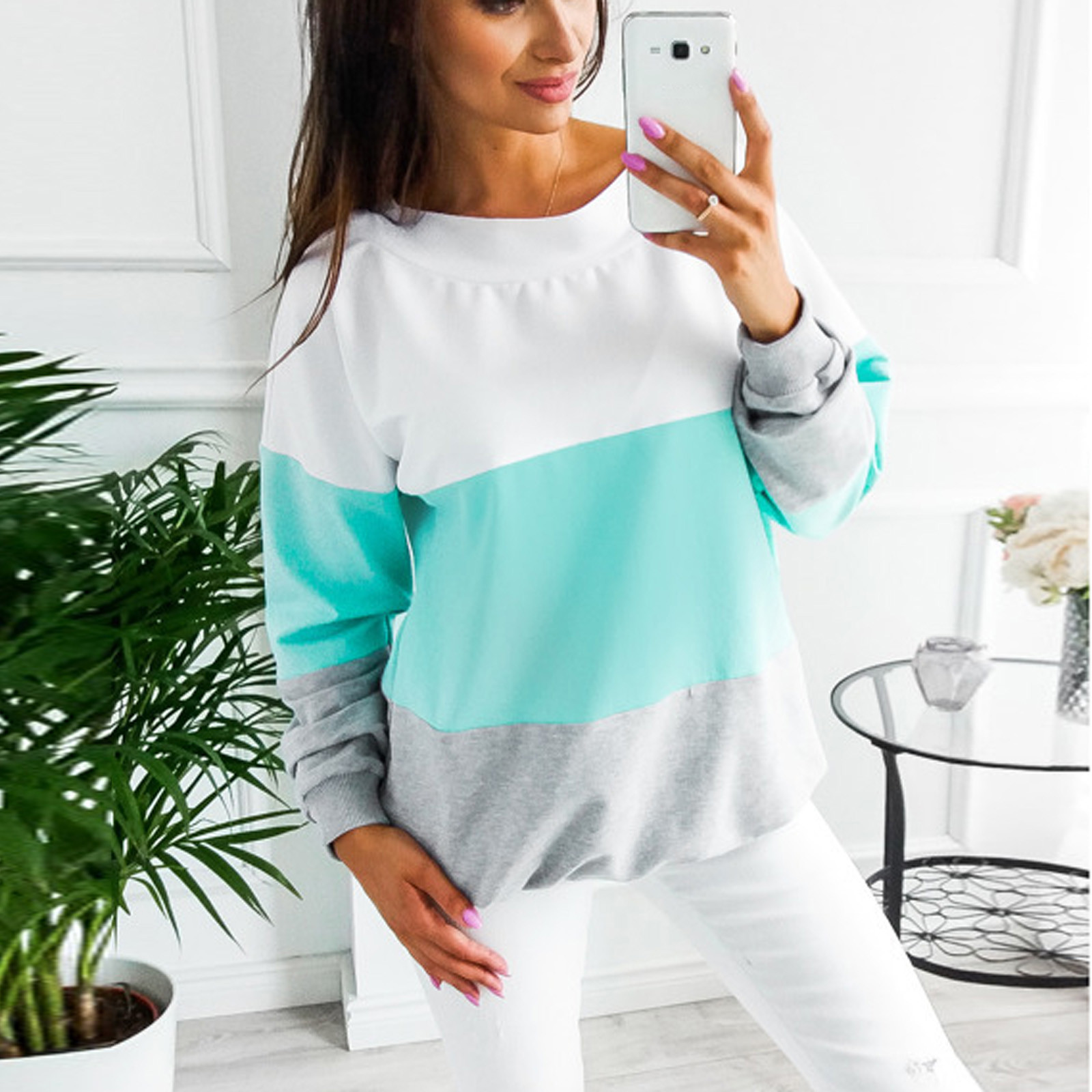 4# Women's Sweaters Stitching Bandage O neck Top Casual Long Sleeve Pull Femme Sweater Sweater Women Winter Свитер Женский