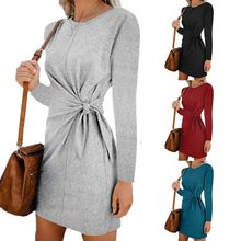 Womens Long Sleeve Crew Neck Twist Front Side Knot Loose Dress Autumn Winter Solid Color Casual Party Clubwear S-2XL