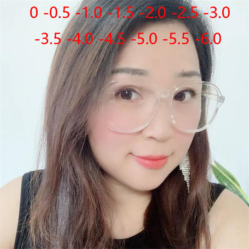 Optical Round Womens Nearsighted Eyeglasses Ultralight Flexible Transparent Frame Prescription <font><b>Glasses</b></font> -<font><b>0.5</b></font> -1.0 -1.5 To -6.0 image