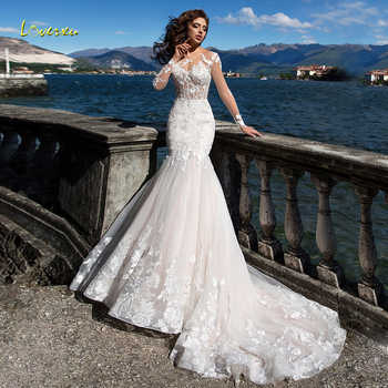 Loverxu Illusion Scoop Mermaid Wedding Dresses 2019 Appliques Long Sleeve Button Bridal Dresses Court Train Bride Gown Plus Size - DISCOUNT ITEM  0% OFF All Category