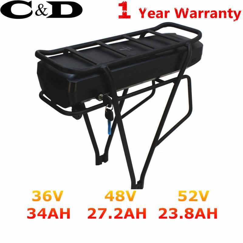 Original ebike battery 36V electric bike battery 48v 20AH 52V Battery 30AH 1500W 40A BMS Powerful Rear Rack Bafang BBS02 BBSHD