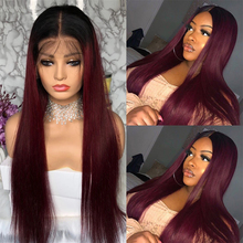 RedWine Brazilian Straight Lace Front Human Hair Wigs SOKU Pre plucked 13x4 Lace Frontal Wigs With Baby Hair 150% Remy Hair Wig