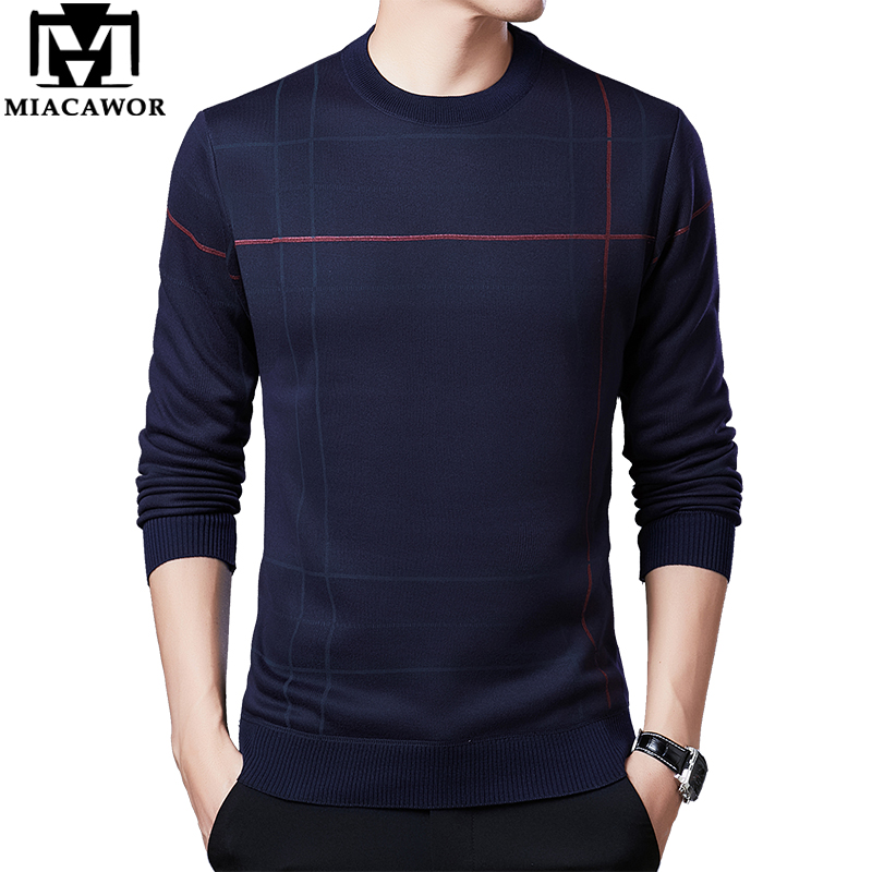 MIACAWOR New Brand Sweater Men Winter Fleece Warm Pullover Male Slim Fit Jumper O-Neck Knitted Pull Homme Men Clothing Y226