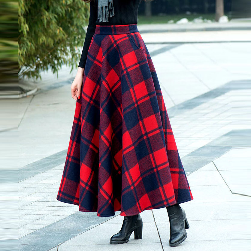 2019 Female Winter Fashion Vintage Large Plus Size Red Plaid Slim Woolen High Waist Maxi Long Ladies Skirt / Skirts With Womens