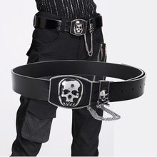 New Fashion Skull Metal Pu Leather Men Belt Metal Punk Novelty Belts