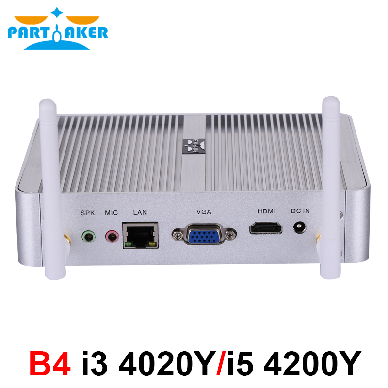 Partaker Cheapest Fanless Mini PC Windows 10 Pro Intel Core I5 4200Y I3 4020Y Barebone Computer DDR3L HTPC WiFi