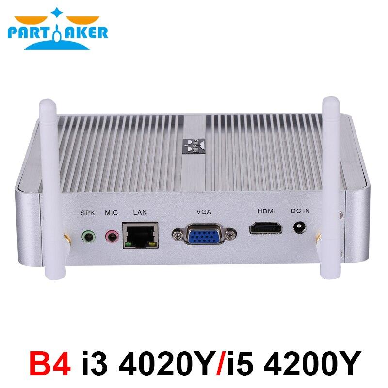 Participante mais barato fanless mini pc windows 10 pro intel core i5 4200y i3 4020y barebone computador ddr3l htpc wifi