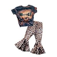 Crianças do bebê meninas recém-nascidos moody boutique roupas tie dye define crianças descoramento leopardo bell-bottomed calças roupa da moda