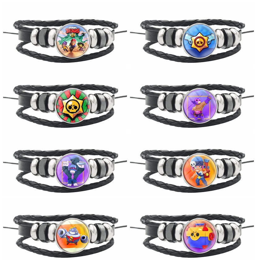 BrawlING Bracelet Star ToyS Men Multilayer Leather Braided Multi Layer Wrap Trendy Braided Bracelet Armband Kids Boy Punk Badges